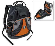 Klein Tools 55421-BP Tradesman Pro Organizer 39-Pocket Backpack.  Klein Tools 55421-BP Tradesman Pro Organizer Backpack features 39 pockets for all of your tool storage. The orange interior allows for easier tool visibility and the wide opening fits large tools such as power drills, meters, flashlights, etc. With 5 exterior pockets, 34 interior pockets, a shoulder strap, and handles for easy carrying, this organizer is perfect for use on the jobsite.