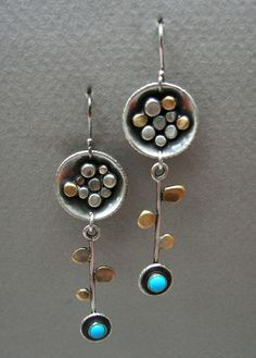 Long dangling sterling silver and brass abstract by tomlindesign