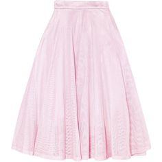 MAJE  Metallic pleated cotton-mesh midi skirt (2.436.495 IDR) ❤ liked on Polyvore featuring skirts, pink pleated skirt, metallic midi skirt, metallic skirt, pink metallic skirt and cotton midi skirt