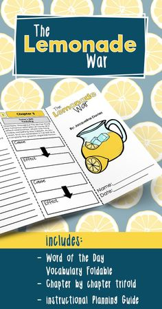 The Lemonade War novel study activities in a fun foldable format students love. No prep and perfect for third grade, fourth grade, or fifth grade book clubs or literature circles.