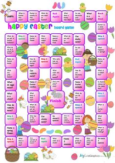 Easter Boardgame for Beginners worksheet - Free ESL printable worksheets made by teachers