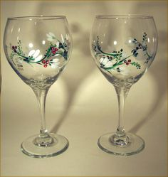 White Flower Red Berry Hand Painted Wine Glass by GlitznGlass, $32.00
