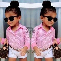 """Ok, is it just me, or is this """"outfit"""" sexualizing this child? Why is this person dressing a little girl like she's a full grown woman? Little Girl Outfits, Little Girl Fashion, Toddler Outfits, Fashion Kids, Toddler Fashion, Stylish Baby, Stylish Kids, Stylish Eve, Chic Baby"""