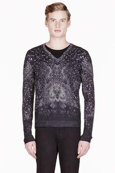 Alexander McQueen Black Morphing Snake Print V-neck Sweater for men. $995.00. #fashion #men #sweater