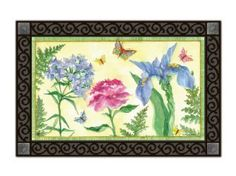 """Botanica MatMate (DOORMAT ONLY) by MatMates. $21.95. Non-slip recycled rubber backing. Artist: Sally Eckman Roberts. Approximately 18"""" x 30"""". This doormat can be used stand-alone or as interchangeable insert in the MatMates outdoor decorative tray or indoor Comfort Tray (as shown, sold SEPARATELY)."""