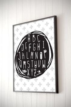 Alphabet imprimer art alphabet chambre denfant par MedlinDesign