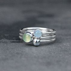Water Lily Stacking Rings Sterling Silver Gemstone by KiraFerrer