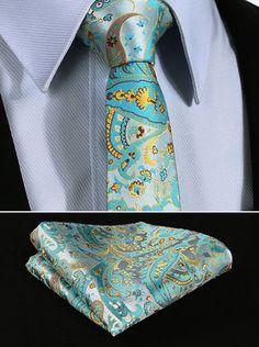 "TP915Q5 Aqua Yellow Paisley 2.17"" 100%Silk Woven Slim Skinny Narrow Men Tie Necktie Handkerchief Pocket Square Suit Set"