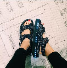 Chanel sandals with LED lights