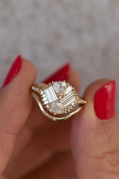 27 Unique Engagement Rings That Will Make Her Happy ❤ unique engagement rings rose gold engagement rings baguette cut engagement rings ❤ Baguette Engagement Ring, Dream Engagement Rings, Engagement Ring Cuts, Rose Gold Engagement Ring, Womens Jewelry Rings, Women Jewelry, Diamond Rings, Gemstone Rings, Style Classique