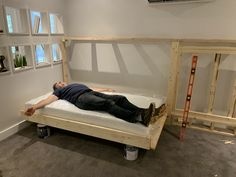 """Need a bed (or two) but don't have space for another permanent """"bedroom?"""" Is your old college futon/hand-me-down guest bed/blow-up mattress no longer cutting it? We have a solution -- DIY your own Murphy bed! Check out our project and get inspired! Murphy Bed Kits, Build A Murphy Bed, Best Murphy Bed, Murphy Bed Plans, Fold Up Beds, Horizontal Murphy Bed, Bed Lifts, Modern Murphy Beds, Small Home Offices"""