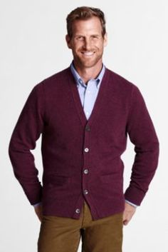 Men's Cashmere V-neck Cardigan Sweater from Lands' End