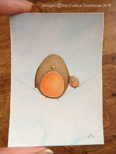 Robin Bird ACEO Card Original OOAK 'Two's by thecurioustreehouse