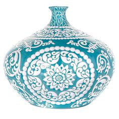 Aquamarine Suzani Vase-  inspired by the antique tribal ceramics of Central Asia. from Z Gallerie - Suzani - interior design