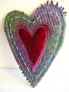 Harris Tweed Heart Brooch by Jackie Cardy textiles Fabric Brooch, Felt Brooch, Brooch Pin, Textile Jewelry, Fabric Jewelry, Jewellery, Textile Art, Fabric Hearts, Fabric Flowers