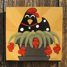 Animal Folk Art Paintings | ... Folk Art Chicken Painting Whimsical Farm Animal Humor - Paintings
