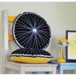 Black & Yellow Bicycle Wheel Cushion