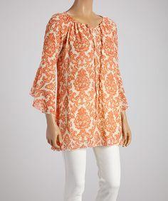 Love this Orange Floral Tunic on #zulily! #zulilyfinds