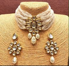 Jul 2019 - Excited to share this item from my shop: VeroniQ Trends-Designer Choker Necklace in Kundan,Pearls-VC-Party,Hyderabadi,Bollywood,India Indian Jewelry Earrings, Indian Jewelry Sets, Indian Wedding Jewelry, India Jewelry, Fashion Jewelry Necklaces, Silver Jewelry, Fine Jewelry, Silver Ring, Silver Earrings