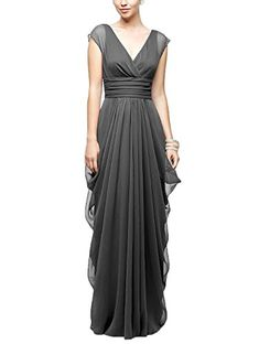 Holygift Women's A-Line Chiffon Pleated V-Neck Backless Prom Bridesmaid Dress