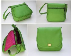 GREEN FLAP. EXTERIOR: Made of green Cowhide Leather. Antique brass round turn lock Metal-nished zippers. Rectangular metal rings. External zipper pocket. Antique brass metal studs. INTERIOR: Printed lining. One Pocket for cell phone or glasses. One zipper pocket.