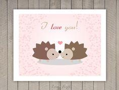 Ik hou van jou kaart  egel van SophiesLoveBirds op Etsy