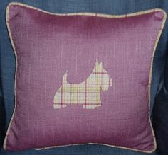 Cushion Pillow Cover   Luxury Designer Handmade WOOL Cushion / Pillow. Plaid Tartan. Scottish. Applique. Scottie Dog. Scottish Terrier by ThistleCushions on Etsy https://www.etsy.com/listing/227049477/cushion-pillow-cover-luxury-designer