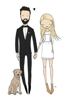 Couple portrait illustration by Blanka Biernat