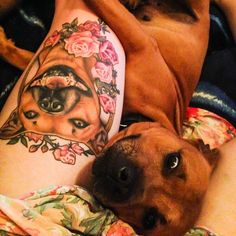 I absolutely adore this photo Rhea sent me of her healed Rocket portrait with the little man himself.   .  Ive been posting so many dog pictures lately. Ahhh its the best  #staffy #staffyportrait #dogtattoo #staffordshirebullterrier #tattoos