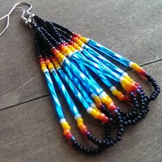 Black and turquoise seed bead earrings