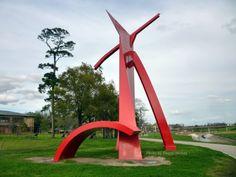 """""""Houston"""" sculpture by Mac Whitney along White Oak Bayou"""