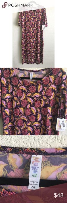 NWT LuLaRoe Julia Pink Purple Floral Midi Dress Gorgeous colors and pattern. New with tags. Size 2XL. LuLaRoe Dresses Midi