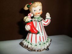 Vtg Norcrest Christmas Figurine Little Girl Red Striped Dress with Stocking