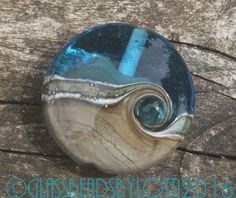 Lampwork glass lentil focal bead, 'Sunny days on on a sandy beach'. SRA by GlassBeadsbyLotti on Etsy
