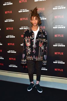 FilmMagic; ,; Jaden rocks an embellished suede jacket with ankle-bearing black pants and a classic white