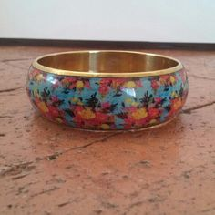 """Selling this """"Multicolored Floral and Goldtone Bangle"""" in my Poshmark closet! My username is: Multicolored Floral and Goldtone Bangle. #shopmycloset #poshmark #fashion #shopping #style #forsale #loveandsqualor"""
