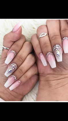 Pink and white ombré coffin nails