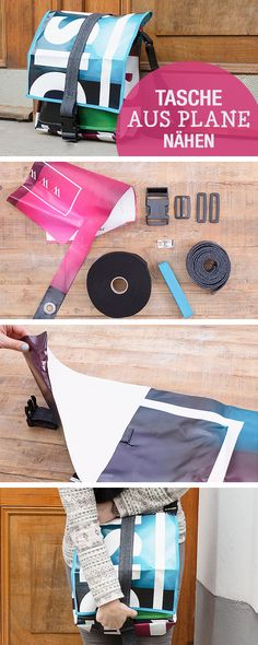 DIY-Nähanleitung: Tasche aus LKW Plane nähen, Taschen selbernähen / use truck canvas to sew a messenger bag, sewing bags via DaWanda.com (Diy Clothes Recycling)