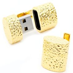 Solid gold cufflinks with USB inside for all you secret agents out there
