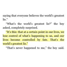 The Alchemist.  My favorite quote from this book!