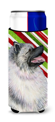 Keeshond Candy Cane Holiday Christmas Ultra Beverage Insulators for slim cans SS4557MUK