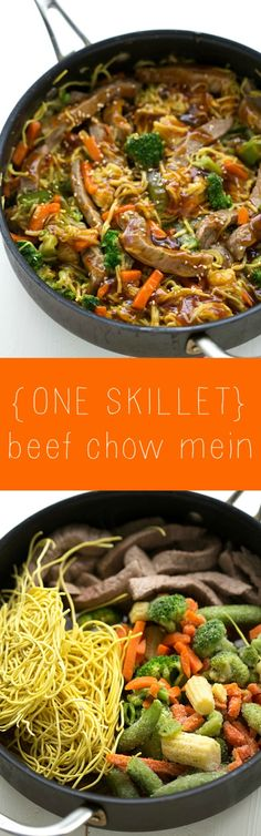 An easy ONE SKILLET beef chow mein