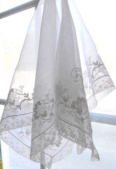 Antique French Bride's Handkerchief with Monogram Exquisitely Embroidered by Hand