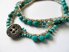 "Crochet wrap bracelet, beaded, necklace, ""aqua nuggets"",  turquoise magnesite, bohemian jewelry, semi precious, crochet jewelry, ooak"