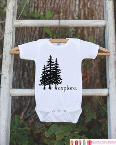 83bb04040d92e Kid s Explore Outfit - White Shirt or Onepiece - Tree Hugger T-Shirt -  Camping T Shirt for Baby