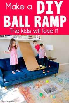 Make a DIY Ball Ramp Have a cardboard box? Make this simple DIY ball ramp. A great gross motor activity for toddlers and preschoolers. Quick and easy activity toddler activity. Kids Activities At Home, Toddler Learning Activities, Games For Toddlers, Infant Activities, Preschool Activities, Kids Learning, Summer Activities, Preschool Classroom, Outdoor Activities