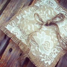 BURLAP and LACE WEDDING - Burlap Ring Bearer Pillow