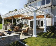 Custom Attached Pergola with ShadeFX Canopy | Pergolas from Walpole Woodworkers