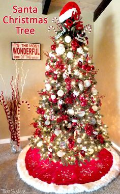 I have finally figured out the perfect formula for decorating a tree and I share these tips and tricks in my Santa Christmas Tree decorating tutorial. Christmas Tree Themes, Santa Christmas, Xmas Tree, All Things Christmas, Winter Christmas, Christmas Tree Decorations, Christmas Crafts, Christmas Ornaments, Candy Cane Christmas Tree