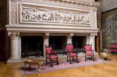 Huge marvelous fireplaces...see the relief above the fireplace...Banquet Hall, Main Floor, Biltmore Estate